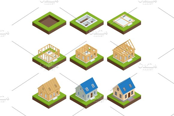Isometric Set Stage-by-stage Construction Of A Blockhouse House Building Process Foundation Pouring Construction Of Walls Roof Installation And Landscape Design Vector Illustration