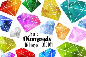 Watercolor Diamonds Clipart