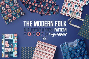 Modern Folk Seamless Pattern Set