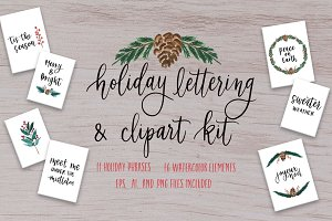 SALE Holiday Lettering & Clipart Kit