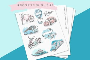 Travel transportation illustrations