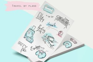 Travel by plane illustrations