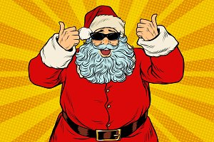 Thumbs up Santa Claus in sunglasses