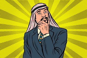 Elderly Arab businessman, thinker pose