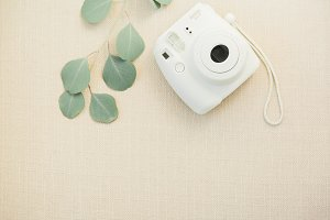 White Instant Camera Stock Photo