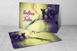 Vintage Wedding Postcard Template