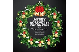 Christmas Wreath with Green Fir Bran