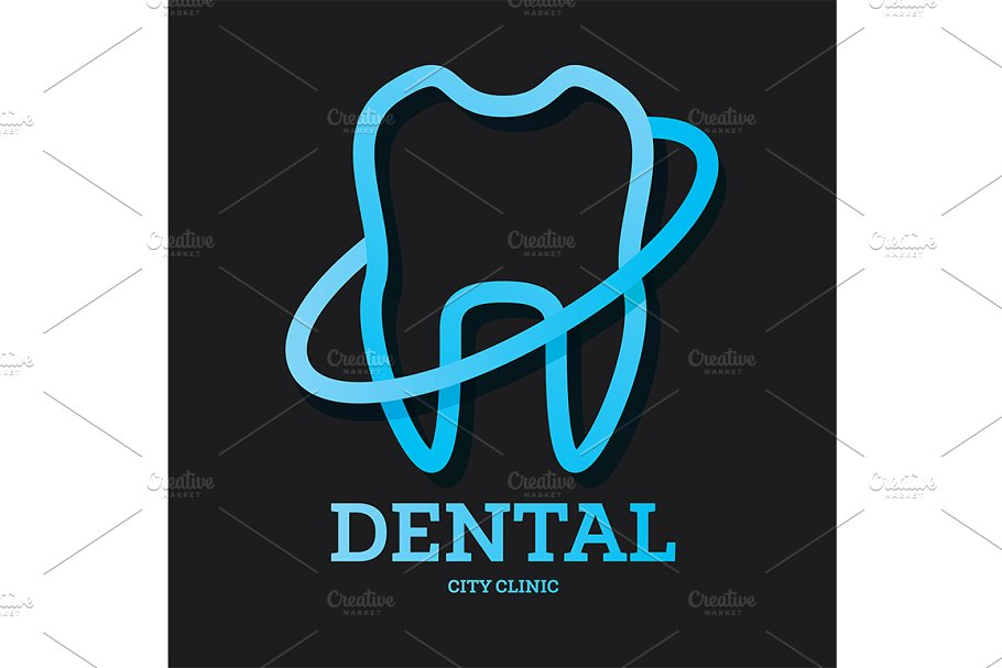Dental Clinic Logo with Blue Tooth.