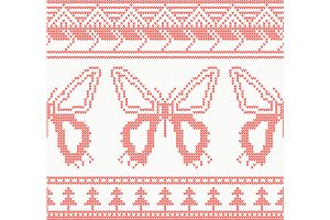Knitted Butterfly Seamless Pattern