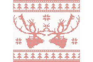 Knitted Deer Seamless Pattern in Red