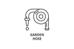 garden hose line icon, outline sign, linear symbol, vector, flat illustration