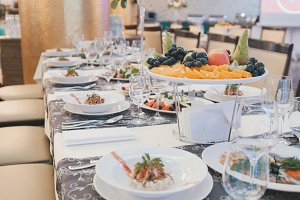 Catering in luxury restaurant before wedding