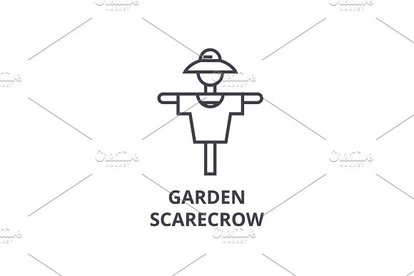 Garden Scarecrow Line Icon Outline Sign Linear Symbol Vector Flat Illustration