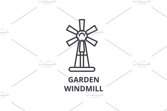 Garden Windmill Line Icon Outline Sign Linear Symbol Vector Flat Illustration