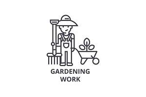 gardening work, gardener line icon, outline sign, linear symbol, vector, flat illustration