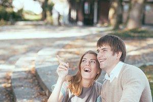 A young couple having fun