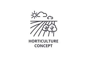 horticulture concept line icon, outline sign, linear symbol, vector, flat illustration