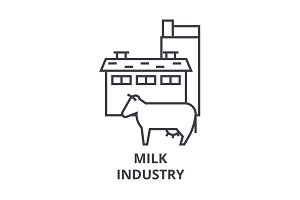 milk industry line icon, outline sign, linear symbol, vector, flat illustration