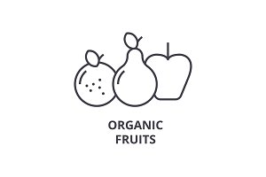 organic fruits line icon, outline sign, linear symbol, vector, flat illustration