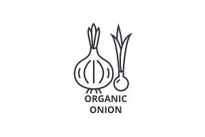 organic onion line icon, outline sign, linear symbol, vector, flat illustration