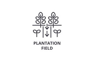 plantation field line icon, outline sign, linear symbol, vector, flat illustration