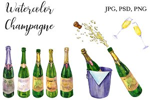 Watercolor Champagne