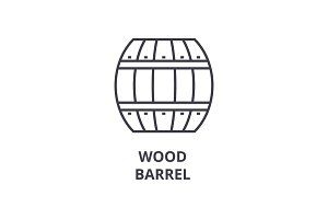 wood barrel line icon, outline sign, linear symbol, vector, flat illustration