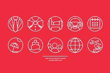 Line style icon set: travel.