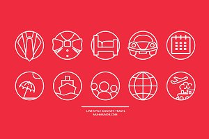 Line style icon set: travel.