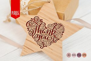 Calligraphy vintage phrase Thank You