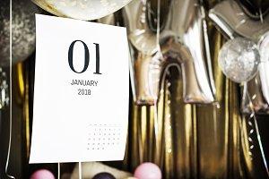 Closeup of January calendar (PSD)