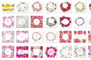 Bundle of 35 watercolor flower frame