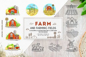 Farm icons and farming fields