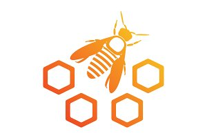Bee icon with honeycomb.
