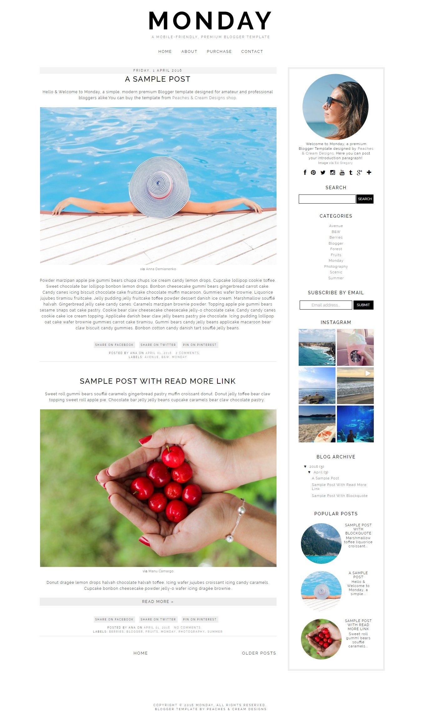Monday Pre Made Blogger Template Website Templates Creative Market