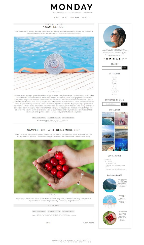 Monday - Pre-made Blogger Template - Websites