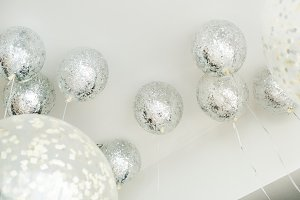 Silver balloons in a party