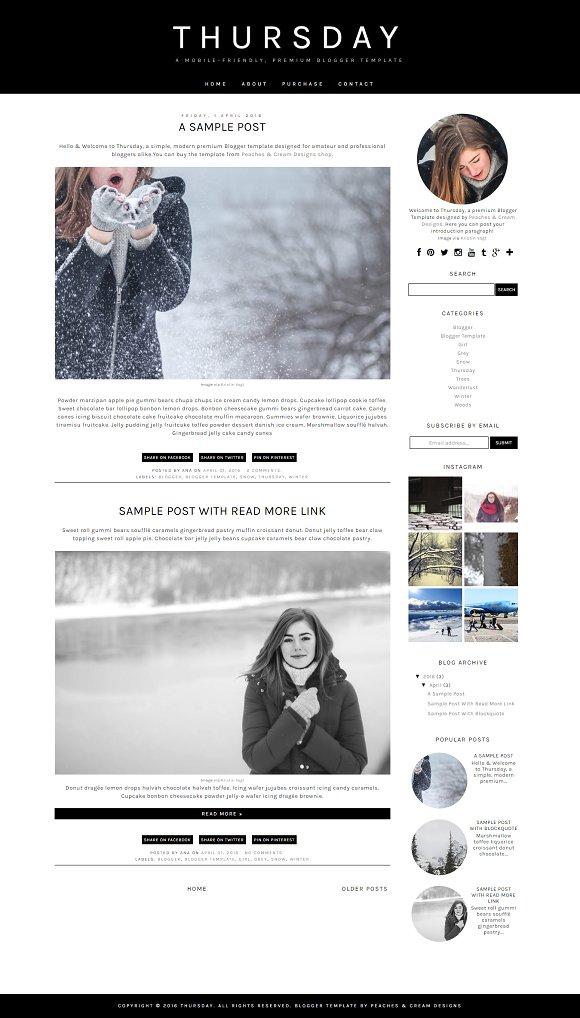 Thursday Pre-made Blogger Template