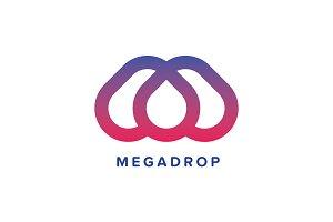 MegaDrop M Letter Logo Template