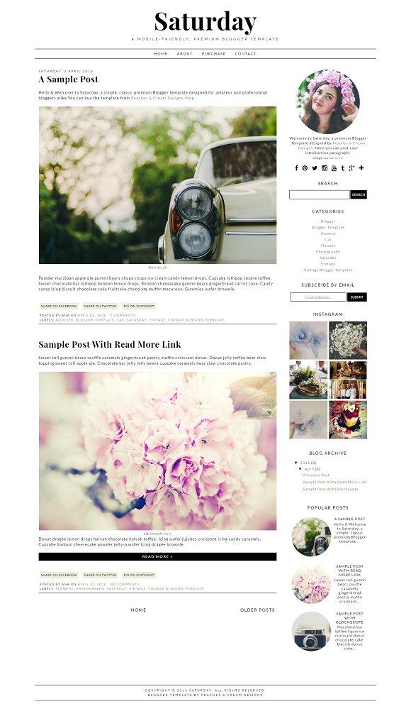 Saturday Pre-made Blogger Template
