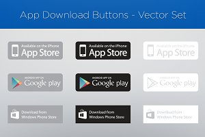 App Download Buttons - Vector Set