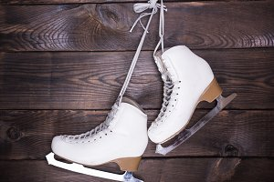 women's white used leather skates