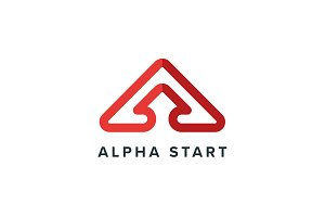 Alpha Start A Letter Logo Template