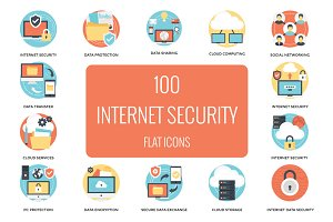 100 Flat Internet and Security Icons
