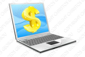Laptop dollar money concept