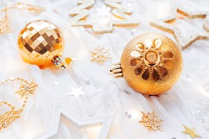 Christmas and New Year golden decor