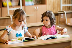 Preschool studying girls