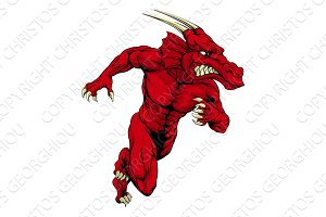 Red dragon mascot sprinting