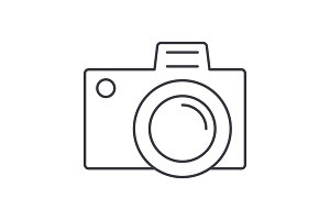 photo camera sign vector line icon, sign, illustration on background, editable strokes