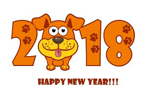Happy New Year. The year 2018 is a yellow earth dog. Cartoon dog. Cover for the calendar